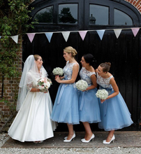 New Brides Maid Dresses 2017 Sheer neck Sash Blue Lace Applique Custom Made Scoop Amazing Formal A Line Bridesmaid Dress E5065