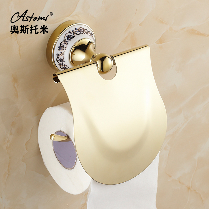 2014 limited promotion paper holder paper towel rack accessories for toilet shamanda fashion antique gold tissue of bathroom gold color bathroom toliet tissue paper towel roll holder chinese luxury style 3371901