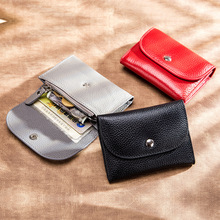 Genuine Leather Wallet Women Casual Simple Female Short Small Wallets Coin Purse Card Holder Men Money Bag with Zipper Pocket new look minimalist men women wallet unisex male female coin purse pouch holder pocket simple casual designer short style canvas
