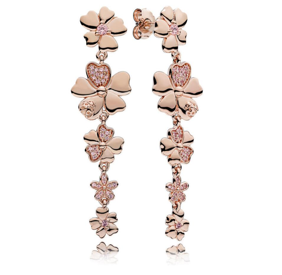 Original 925 Sterling Silver Wildflower Meadow Rose Gold & Blush Pink Crystals Pandora Drop Earrings For Women Gift Jewelry wildflower