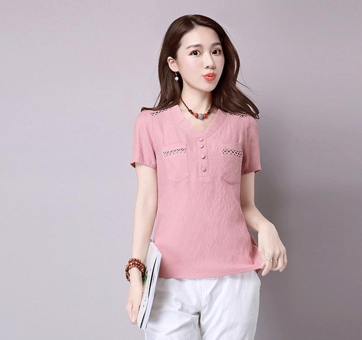 Short sleeve blusas feminina ver o 2019 summer tops women tops linen shirt women blouses off shoulder women blouse 9