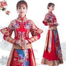 Red Qipao Women Traditional Dress 2018 Bride Chinese Cheongsam Long Phoenix Wedding Gowns Modern Oriental Dresses