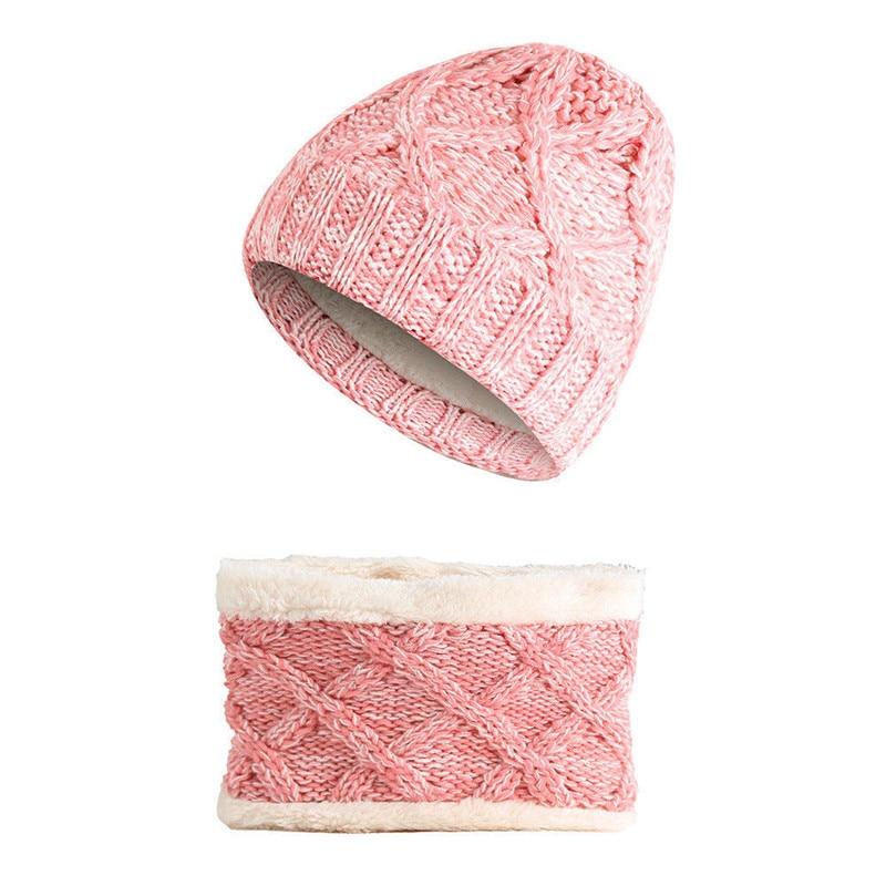 Warm Winter Children Kids Winter Hat Scarf Set Casual Fur Ball Hat Sweet Beanies Girls Warm Fleece Cap Scarf Set