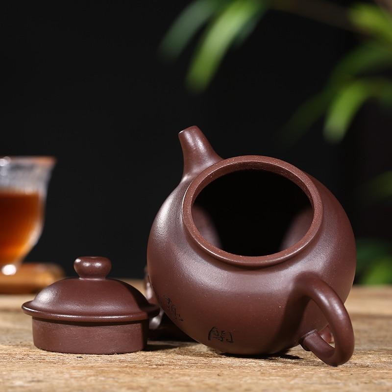 Yixing Paarse Klei Pot Theewaar Ijzermijn Oude Paarse Klei Ring Knop Pot handgemaakte Theepot Gift Aangepaste Een substituut - 4