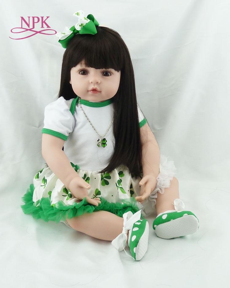 Bigs 60 cm 6-9Month größe Reborn kleinkind mädchen puppe Baby Puppe Spielzeug reborn mit Lange haar Realistische Baby Puppen 100% handmade