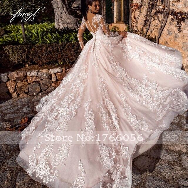 Fmogl Sexy Illusion Long Sleeve Vintage Wedding Dresses 2020 Scoop Neck Appliques Court Train Tulle A Line Bridal Gown Plus Size 2
