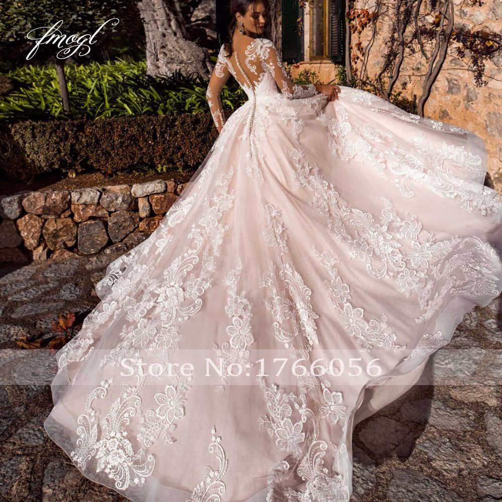 Fmogl סקסי אשליה ארוך שרוול בציר חתונה שמלות 2019 סקופ צוואר אפליקציות משפט רכבת טול קו כלה שמלת בתוספת גודל