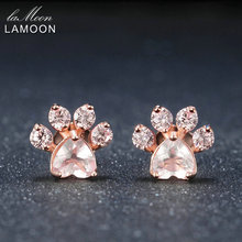 цены LAMOON Bearfoot 5x5.5mm 100% Natural Gemstone Rose Quartz 925 sterling-silver-jewelry Rose Gold Plated Stud Earring S925 LMEI040