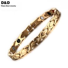 High Quality Health Care Bracelet Bangle Negative Ion Germanium Stainless Steel Jewelry Gold Plated SBRM-075