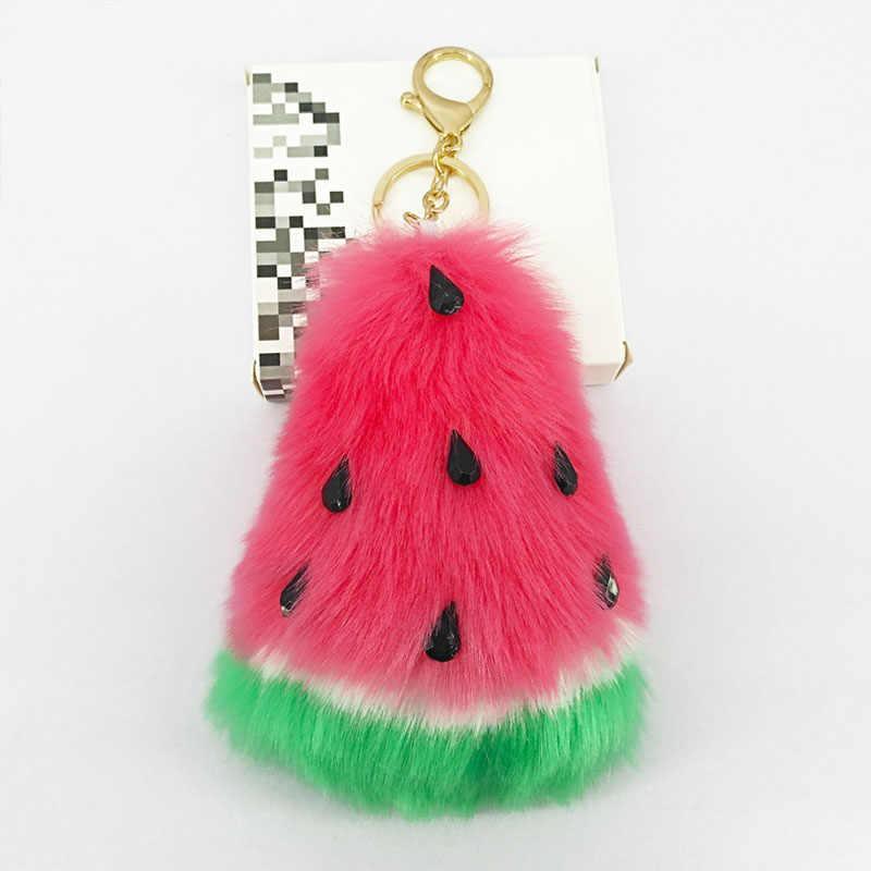Милый арбузный брелок для ключей, пушистый помпон ручной работы, мягкий меховой кулон для украшения сумки, автомобильный брелок ювелирный орнамент, детская игрушка