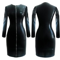 Plus Size Serpentine Faux Leather Dress Long Sleeve Night Club Wear Sexy Hips Zipper Open Autumn