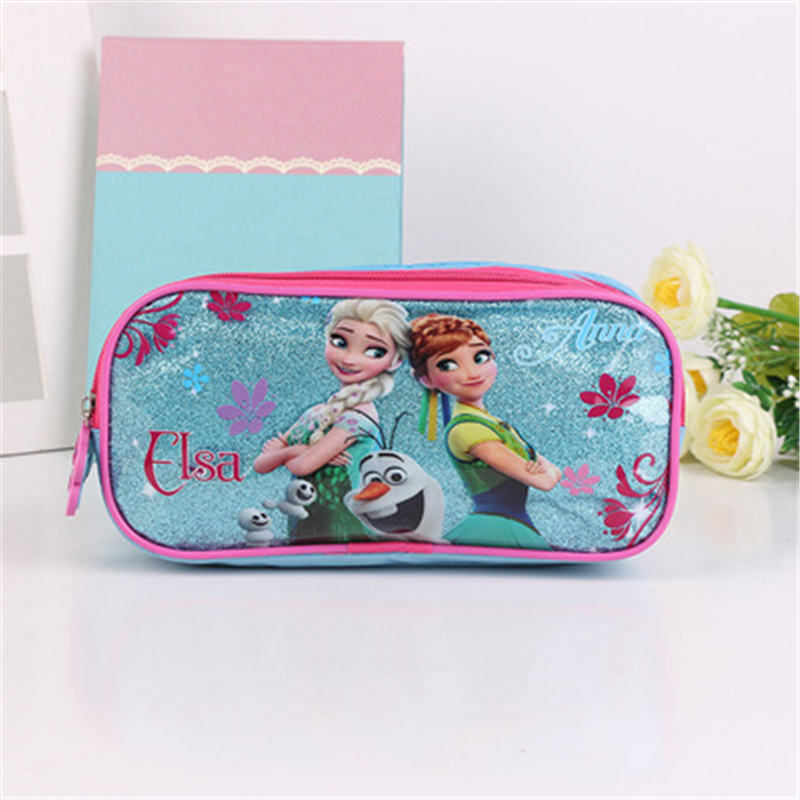 Disney Frozen cartoon case pencil student Elsa stationery box bag cosmetic boy girl gift mickey Anna