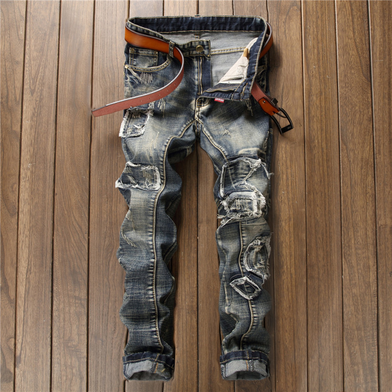 2017 Mens Jeans Men's Trousers Embroidery Biker Jean Casual Clothing Skinny Motorcycle Hip Hop Denim Ripped Men Pants new original for lenovo thinkpad yoga 14 palmrest keyboard bezel upper case cover w tp touchpad w o fpr silver 00hn629
