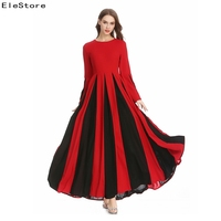 Maxi Dress Women 2018 Vestidos Casual Long Sleeve Elegant Ladies Long Dresses Pleated Clothes Autumn Winter Ukraine Red Yellow