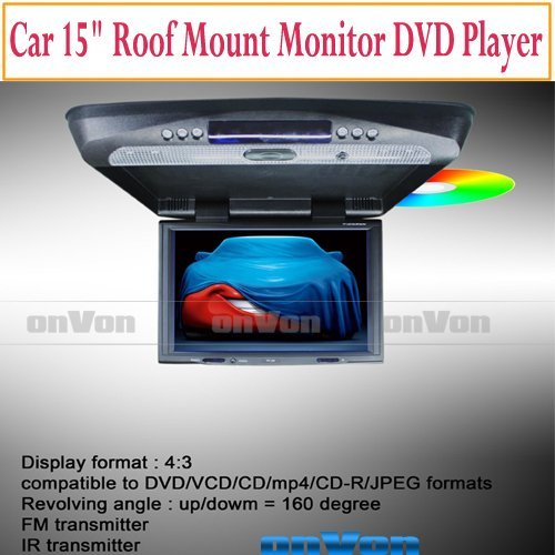 Car 15 inch Roof Mount Overhead Monitor DVD Player IR FM