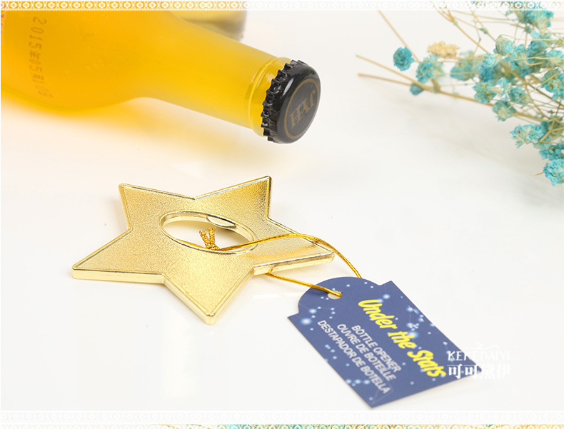 Enthusiastic Wedding Party Favors Gift And Giveaways For Guests Event & Party under The Star Gold Star Bottle Opener Party Presents Souvenir 100pcs/lot