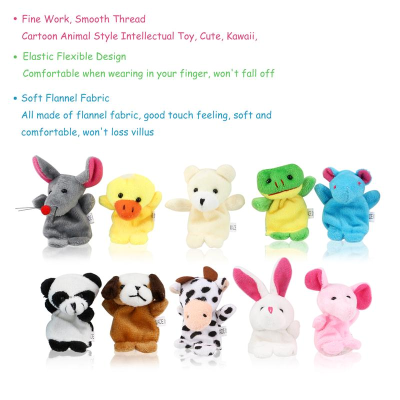 10pcs Cute Family Finger Puppets Cloth Doll Baby Educational Hand Puppet Mini Fantoche Animal Plush Toy Sets