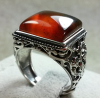 Natural Amber Beeswax 925 Silver Ring Support Custom