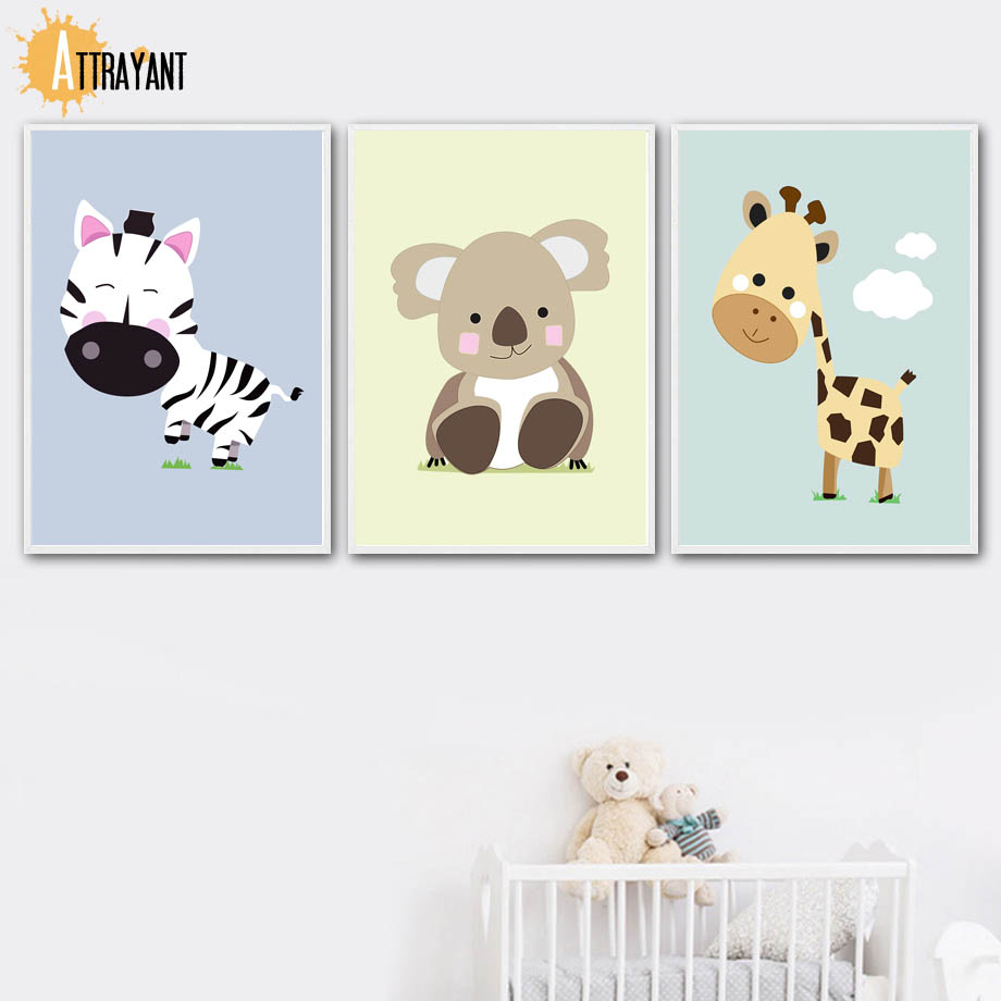 Zebra Koala Giraffe Wall Art Canvas Painting Nordic Posters And Prints Wall Pictures For Kids Bedroom Baby Boy Girl Room Decor