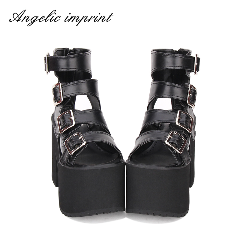 Women Punk Rock Buckle Straps Thick Platform Open Toe Gladiator Sandals Boots BLACK