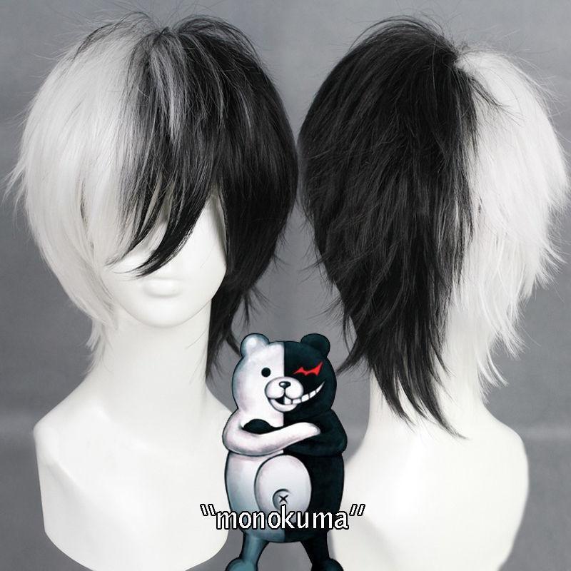 Wig Cosplay Short Monokuma Fluffy-Hair Anime Black White Game-Danganronpa Bear Synthetic