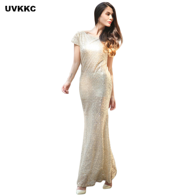 Women Sequins Dress Bridemaids Slim Sheath Gold Silver Wedding Gown ...