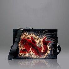 Top quality designer Hand carved men flap bag genuine leather shoulder crossbody bag цена 2017