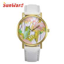 Sunward Relogio Feminino Saat Clock Retro Design Leather Band Analog Alloy Quartz Wrist Fashion Women Watches