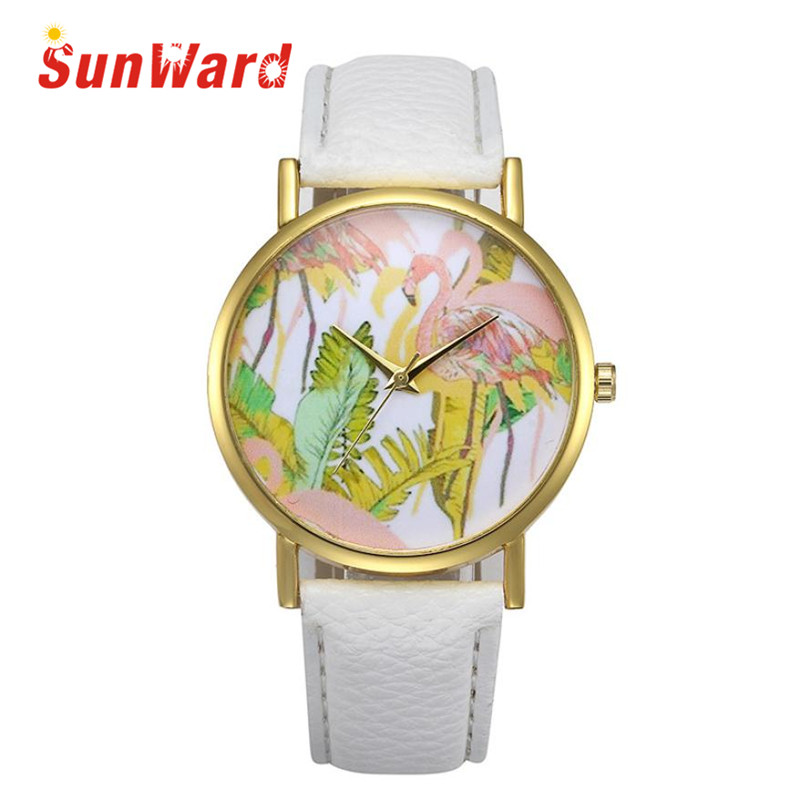 Sunward Relogio Feminino Saat Clock Retro Design Leather Band Analog Alloy Quartz Wrist Fashion font b