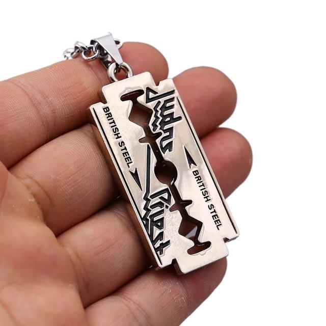 Music Band Judas Priest Collier rasoir lame forme Pendentif chaîne De lien de Mode Colliers D'amitié Cadeau Bijoux Accessoires