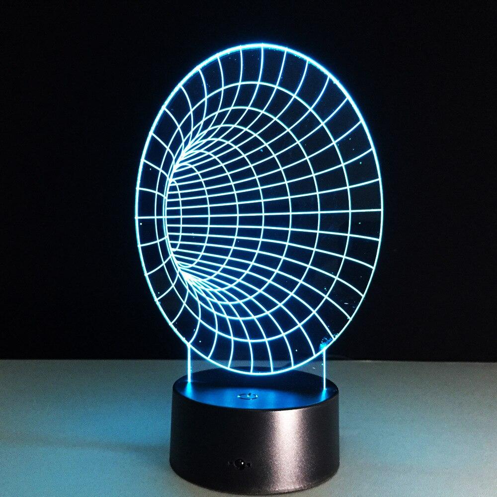 Espace Tunnel 3D Lampe à Led 7 couleurs nuit lampes pour enfants tactile Led Usb Table Lampara Lampe bébé veilleuse nouveauté Lampe