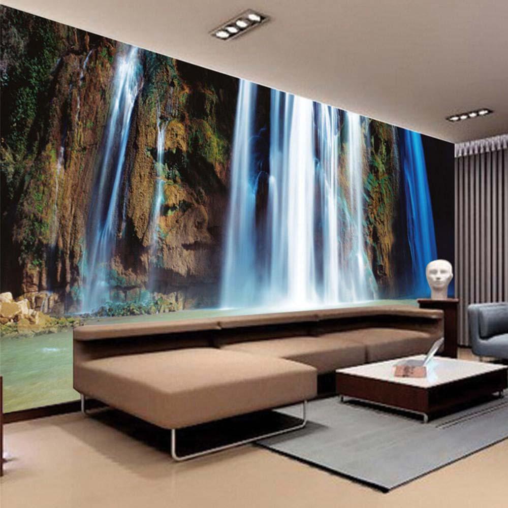 цена  Large 3D Wall Stickers Cliff Water Falls Art Wall Mural Floor Decals Creative Design for Home Decor Waterfall Wallpaper Rolls  онлайн в 2017 году