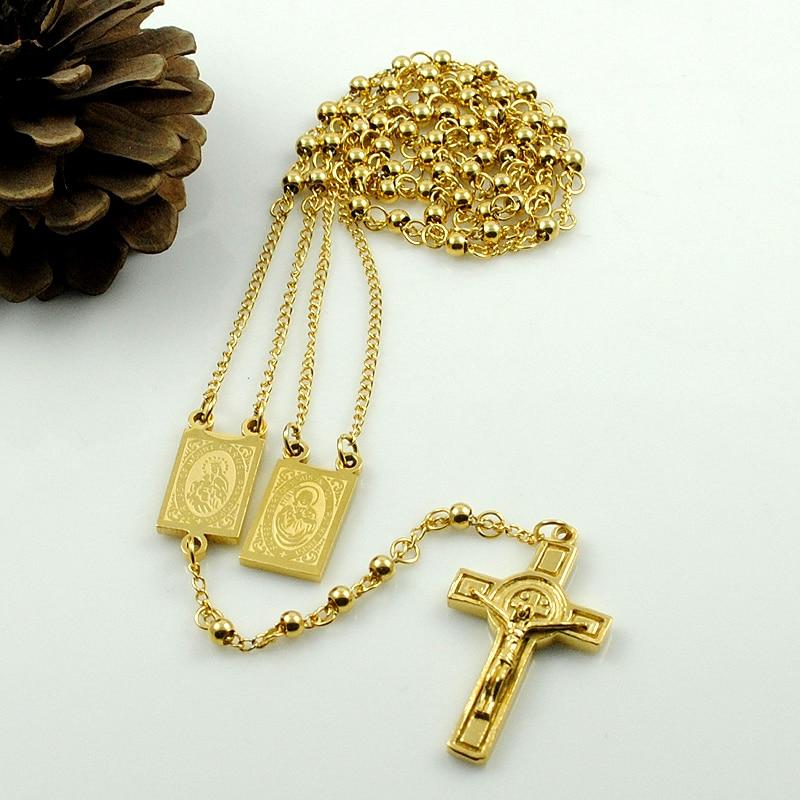 AMUMIU arany színű rózsafüzért gyöngyök Jézus darab kereszt - Divatékszer - Fénykép 2
