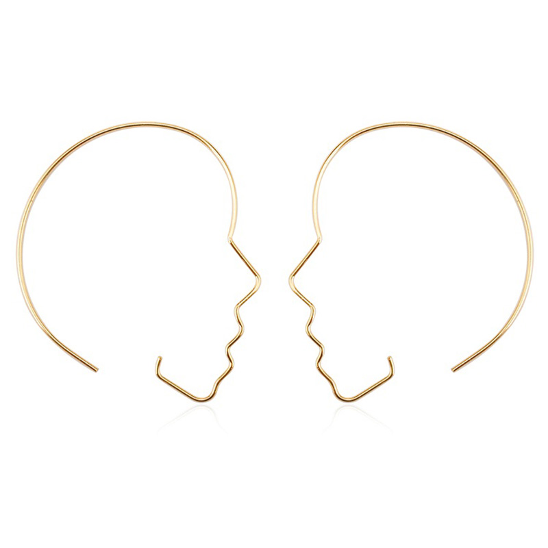 941a2e741 Big Hollow Face Hoop Earrings For Women Large Black Gold Silver Color  Profile Mask Loop Earring