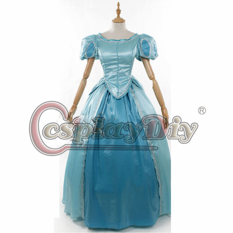The Little Mermaid Ariel Princess Blue Fancy Dress Cosplay Costume For Adult Women Custom Made D00711
