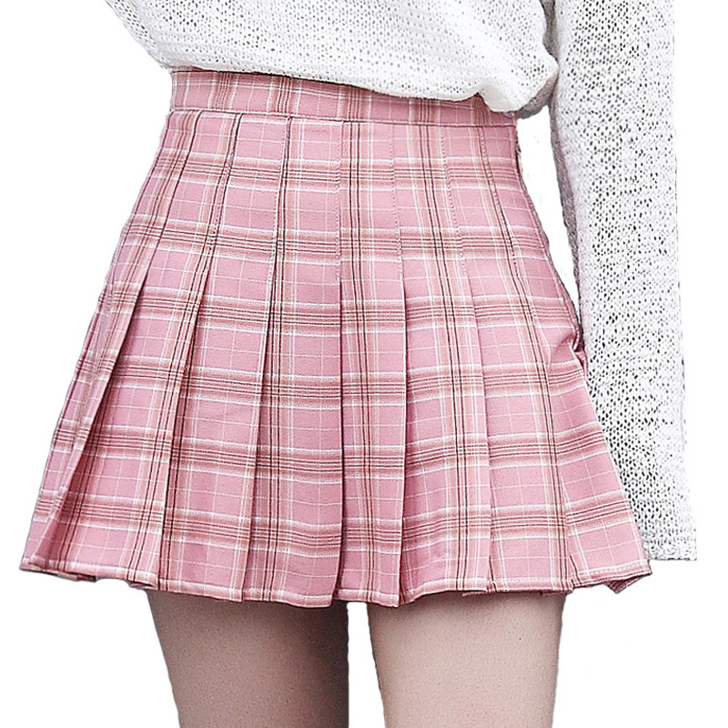 XS-3XL Harajuku 2018 Women Fashion Summer high waist pleated skirt Wind Cosplay plaid skirt kawaii Female Skirts(China)