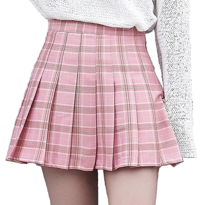 XS-3XL Harajuku 2018 Moda Feminina Verão cintura alta Saias saia plissada Vento Cosplay saia xadrez Feminino kawaii
