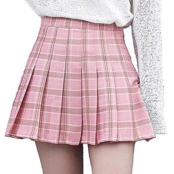 XS-3XL Harajuku 2019 Для женщин Мода Лето Высокая талия плиссированная юбка ветер Косплэй клетчатая юбка Kawaii женские юбки