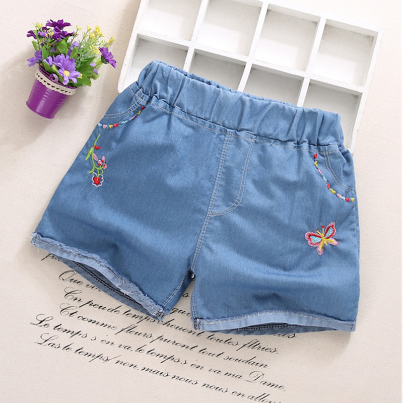 IENENS Fashion Girls Denim Pants   Shorts   Girl Thin Soft Trousers Jeans Kids Children Casual Clothes Clothing 3-7Y