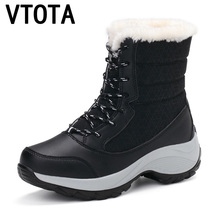 VTOTA Women Snow Boots Warm Winter Boots Fashion Women Mid-Calf Platform Boots 2018 Lace Up Black Women Wedges Shoes Botas H176 цены онлайн