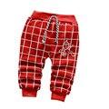 Детские брюки осень/зима Хлопка детей Плюс толстый бархат теплый решетки pattern 0-2 лет мальчики девочки брюки