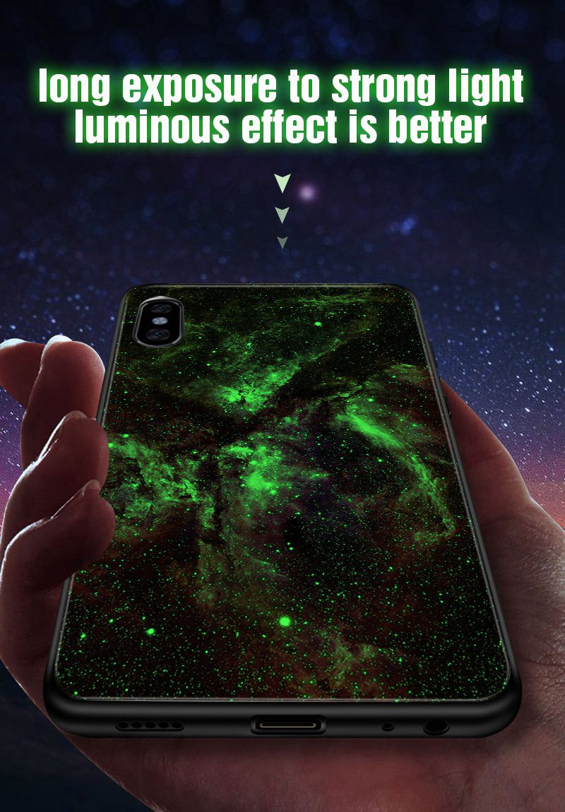 TOMKAS Luminous Starry Luxury Case for iPhone X Xs Max Xr Glass Phone Cover Christmas Silicone Case for iPhone 7 8 6 S 6s Plus (25)