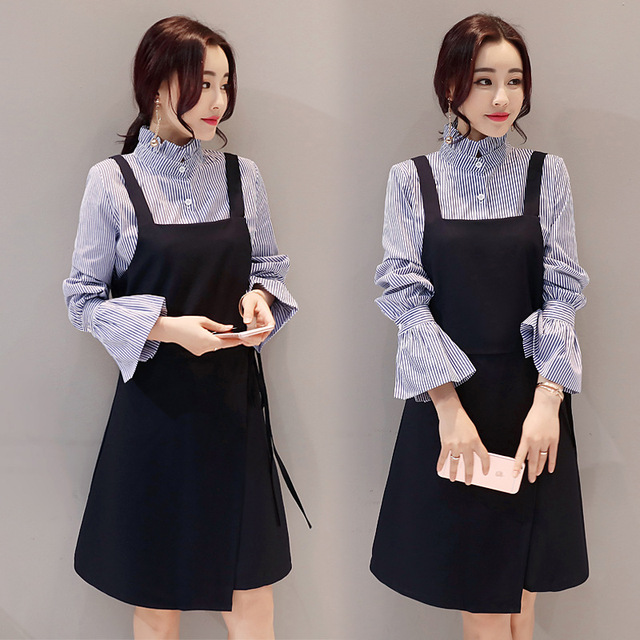 ca88a82a43 2017 Spring And Autumn Two-piece Set Women Dress Korean Fashion Slim Ruffle Long  Sleeve Shirt And Black Slip Dress Women Set
