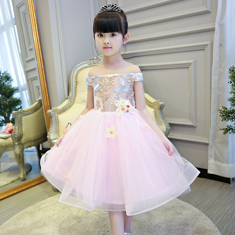 Embroidery Flower Girl Dresses for Wedding Off the Shoulder Kids Pageant Dress for Birthday Ball Gown Princess Party Gowns K34 цены