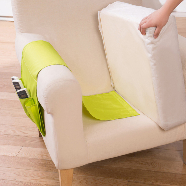 Sofa Arm Hanging Storage Bag For Tv Remote Control Holder Organizer 4 Pockets Cell Phones