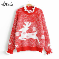 Artsnie Spring 2019 Red Casual Deer Christmas Sweater Women Ruffles Long Sleeve Knitted Pullover Jumper Animal Pull Femme Hiver