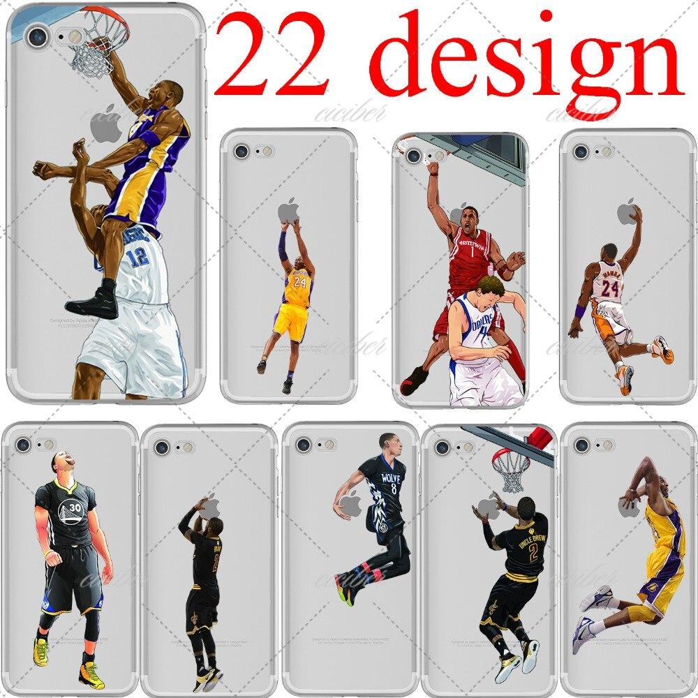 basketball Cartoon LeBron James Kobe Bryant soft silicone phone cases cover for iphone 6 6S 7 plus 5S SE Capinha Coque fundas