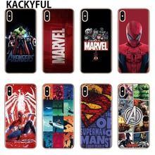 KACKYFUL For iphone 7 6 X Case Marvel Avengers Heros Comics Collage Phone Case For iphone 6 6s 6plus 7 8 plus 5 5s XS XR XS MAX