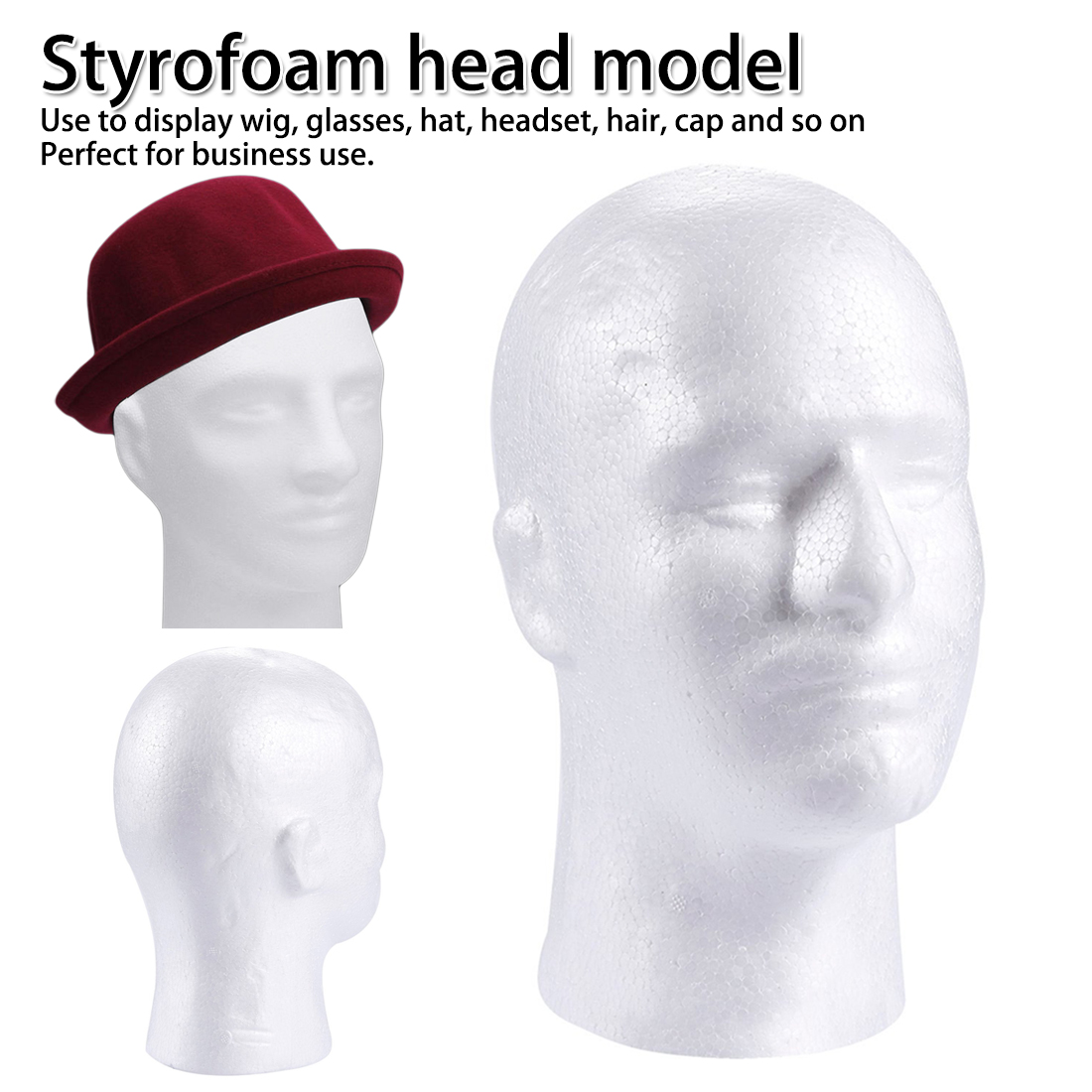 5 x POLYSTYRENE MALE DISPLAY WIG HAT HEAD MANNEQUINS