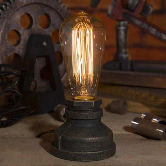 OYGROUP 로프트 E27 테이블 램프 에디슨 전구 거실 침실 베드 사이드 홈 장식 커피 숍 바 레트로 산업 책상 램프